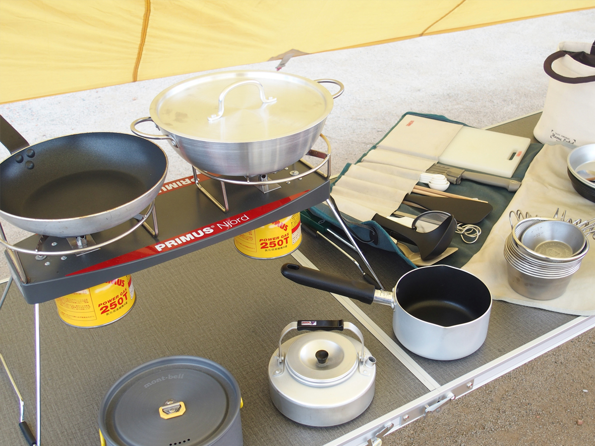 ミニマムキャンプの小物たち「キッチンツール」「食器」「ランタン」