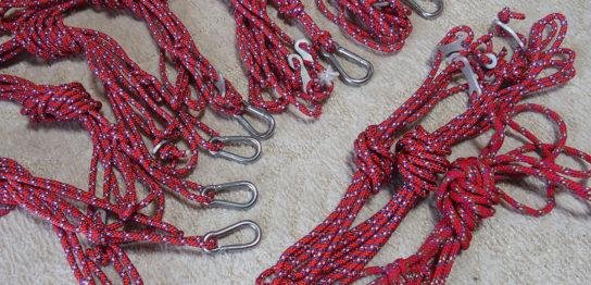 作成したガイロープ(張り綱)キットB 5mmロープ